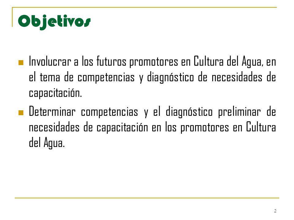Objetivos Involucrar a los futuros promotores en Cultura del Agua, en el tema de competencias y diagnóstico de necesidades de capacitación.