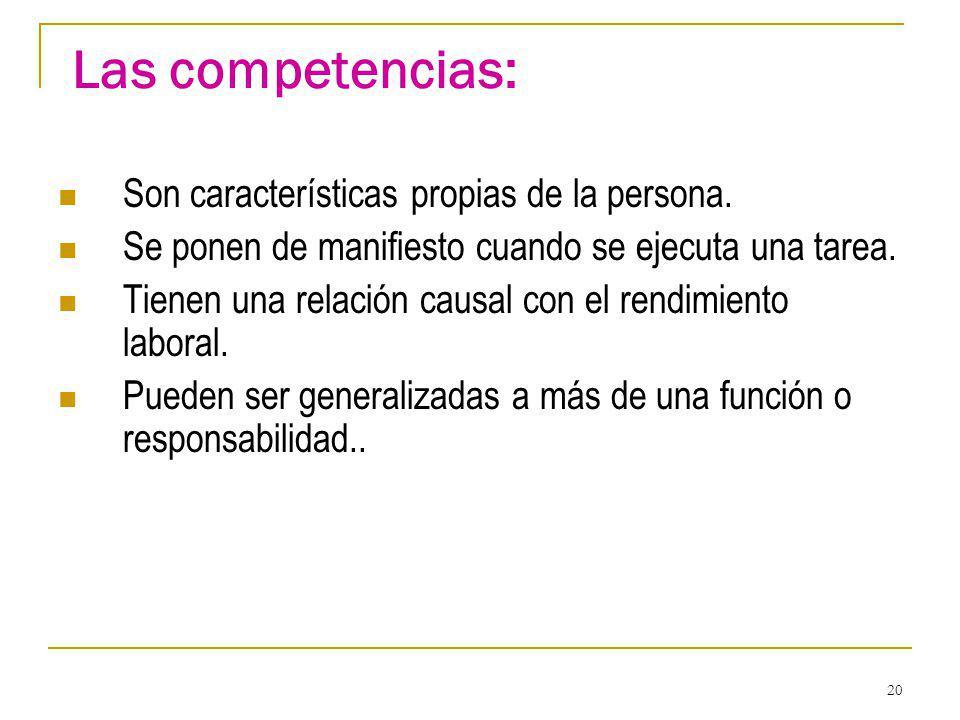 Las competencias: Son características propias de la persona.