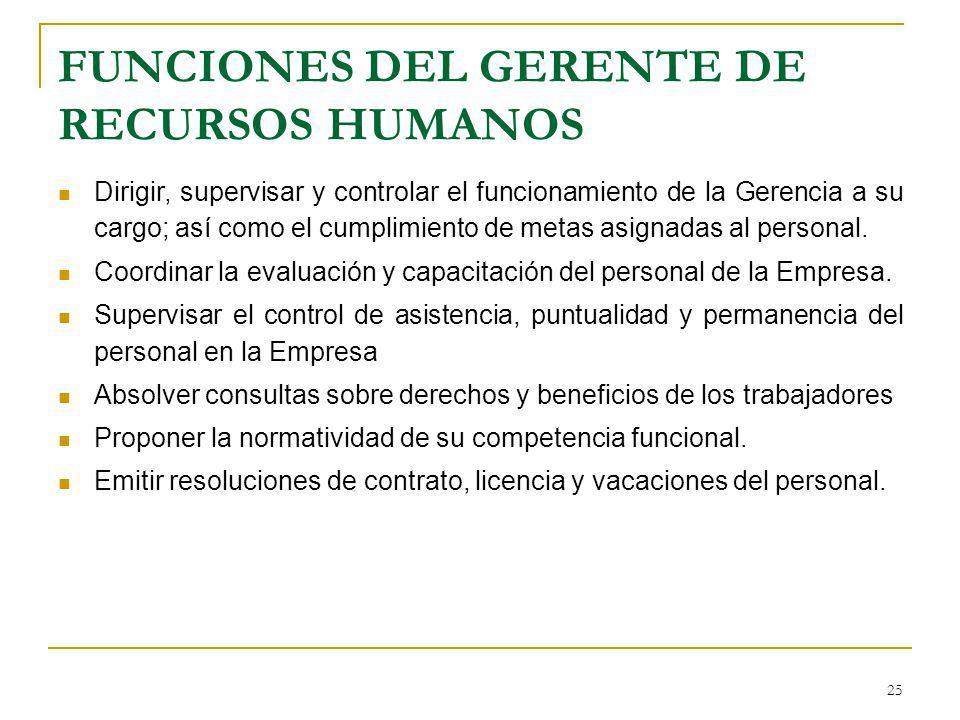 FUNCIONES DEL GERENTE DE RECURSOS HUMANOS