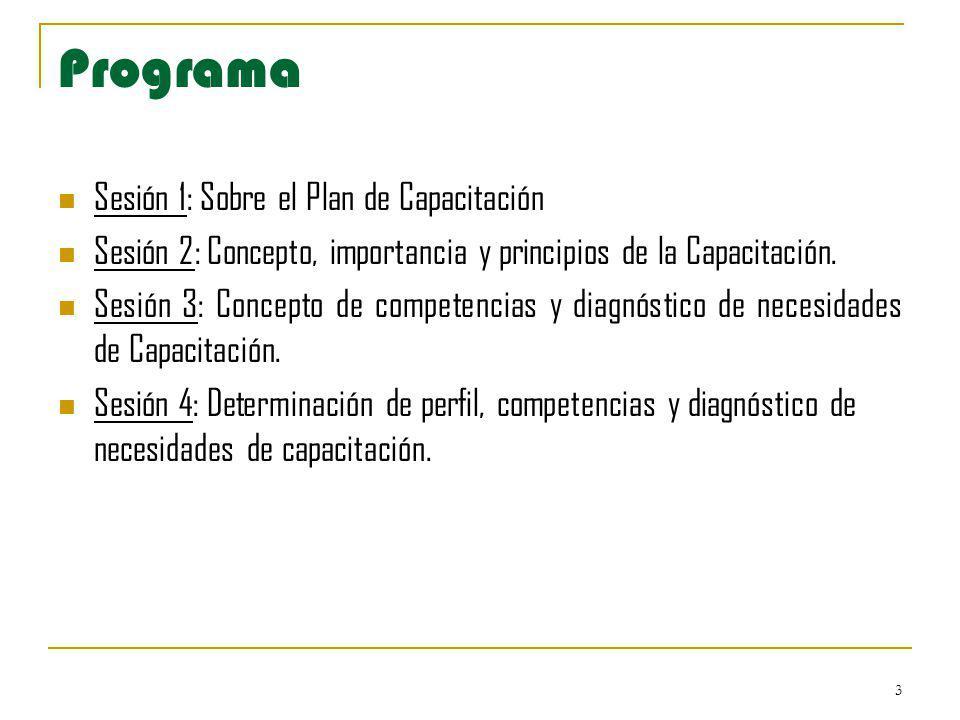 Programa Sesión 1: Sobre el Plan de Capacitación