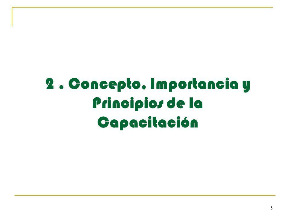 2 . Concepto, Importancia y Principios de la Capacitación