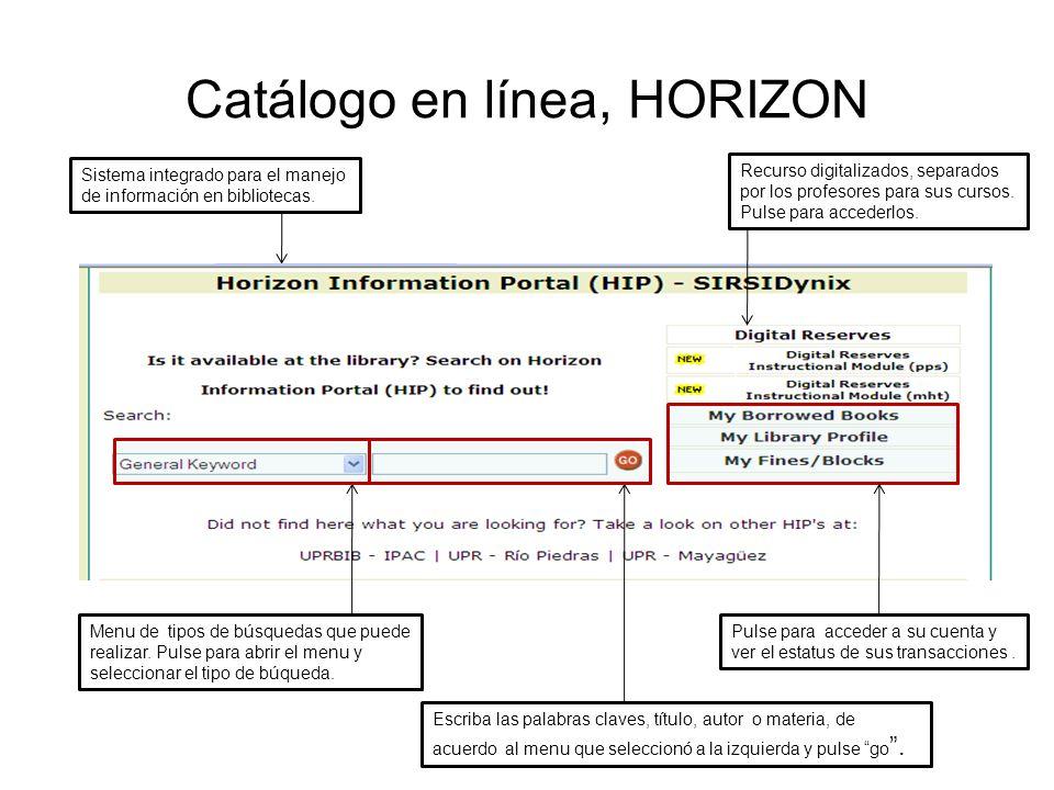 Catálogo en línea, HORIZON