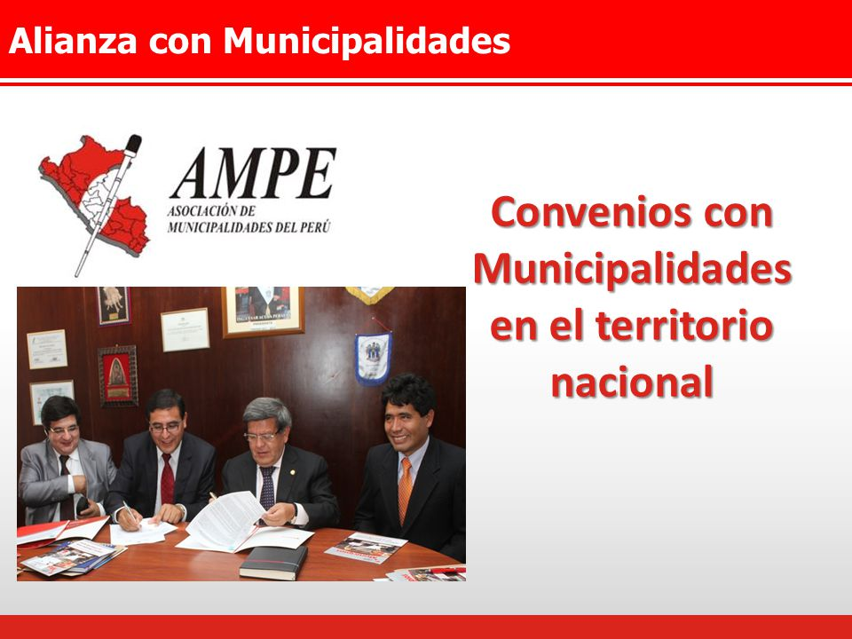 Convenios con Municipalidades en el territorio nacional
