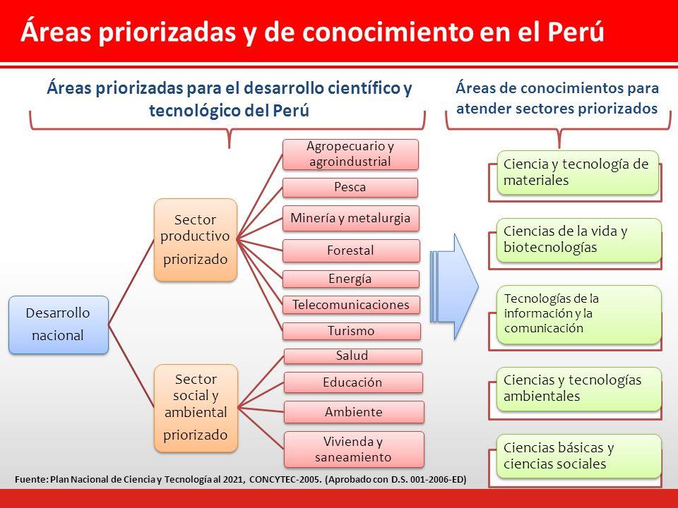 Áreas priorizadas y de conocimiento en el Perú