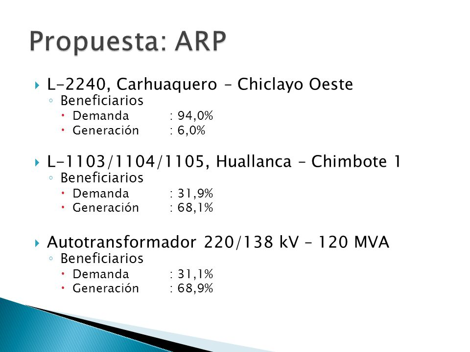 Propuesta: ARP L-2240, Carhuaquero – Chiclayo Oeste