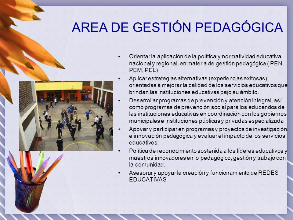 AREA DE GESTIÓN PEDAGÓGICA