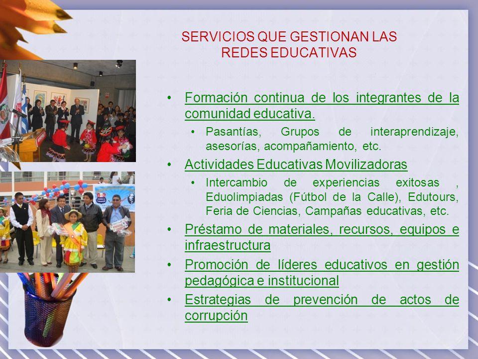 SERVICIOS QUE GESTIONAN LAS REDES EDUCATIVAS