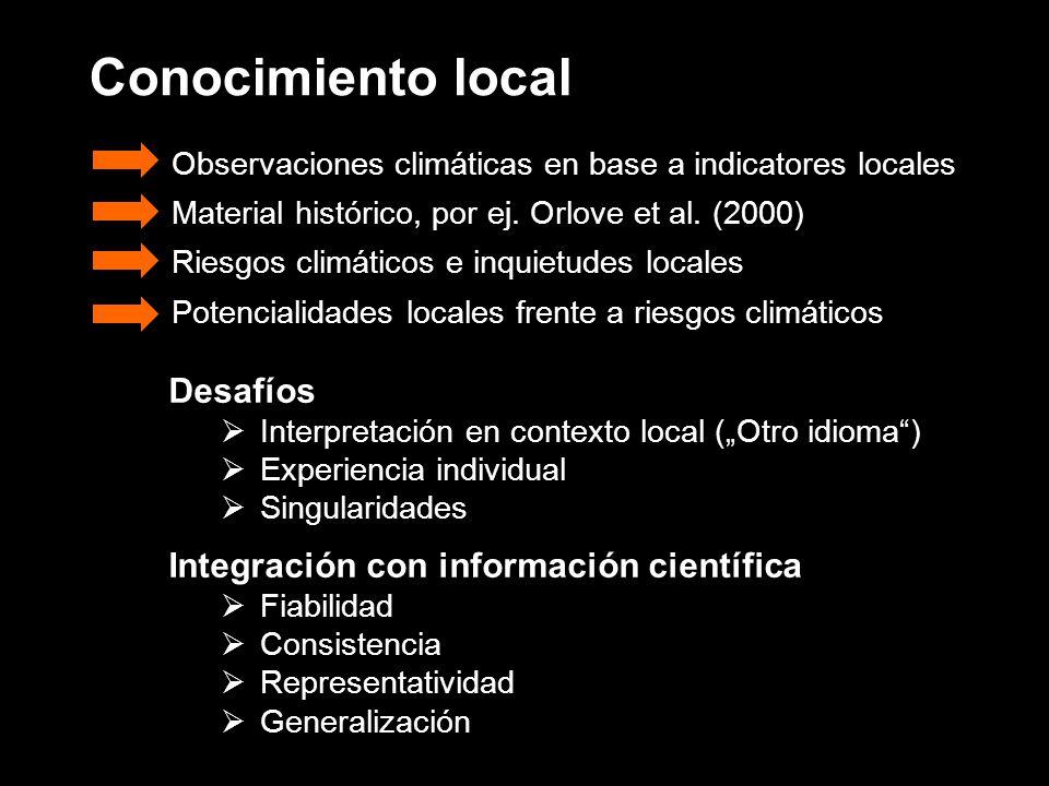 Conocimiento local Desafíos Integración con información científica
