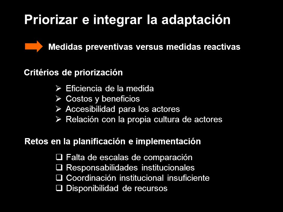 Priorizar e integrar la adaptación