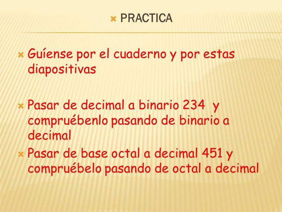 PRACTICAGuíense por el cuaderno y por estas diapositivas. Pasar de decimal a binario 234 y compruébenlo pasando de binario a decimal.