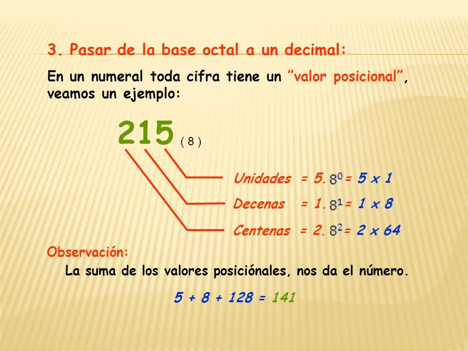 215 3. Pasar de la base octal a un decimal: