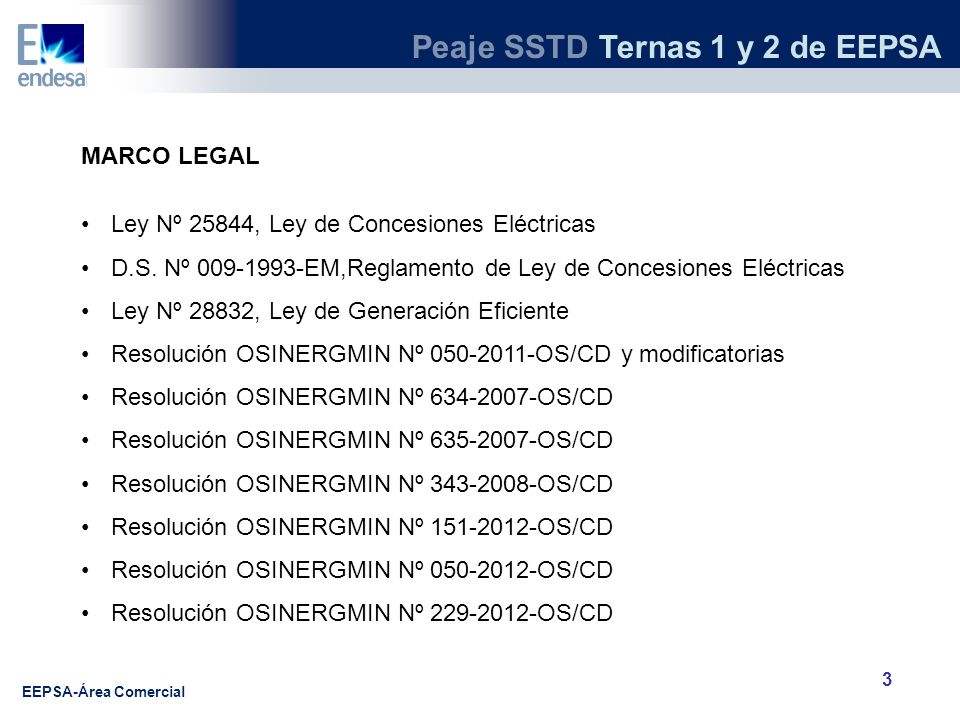 MARCO LEGAL Ley Nº 25844, Ley de Concesiones Eléctricas. D.S. Nº 009-1993-EM,Reglamento de Ley de Concesiones Eléctricas.