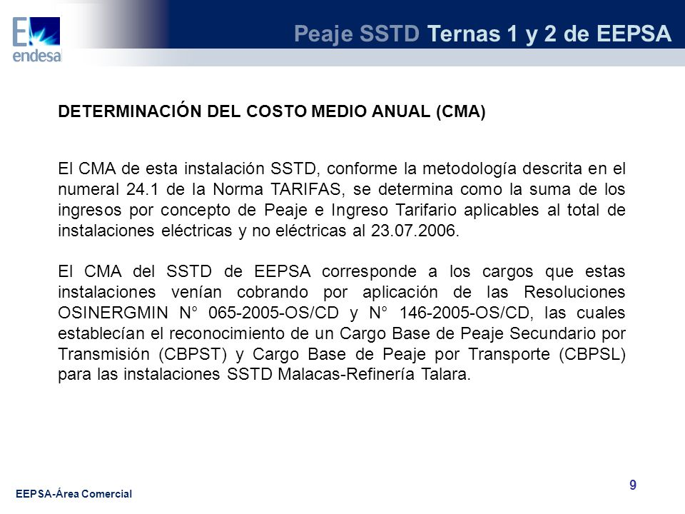 DETERMINACIÓN DEL COSTO MEDIO ANUAL (CMA)