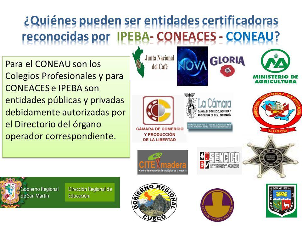 ¿Quiénes pueden ser entidades certificadoras reconocidas por IPEBA- CONEACES - CONEAU