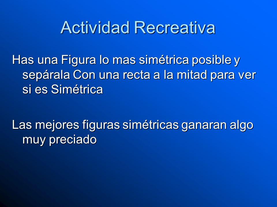 Actividad RecreativaHas una Figura lo mas simétrica posible y sepárala Con una recta a la mitad para ver si es Simétrica.