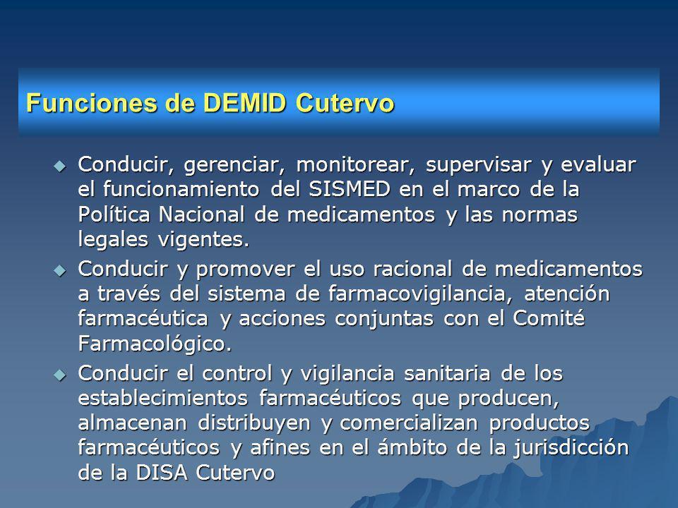 Funciones de DEMID Cutervo