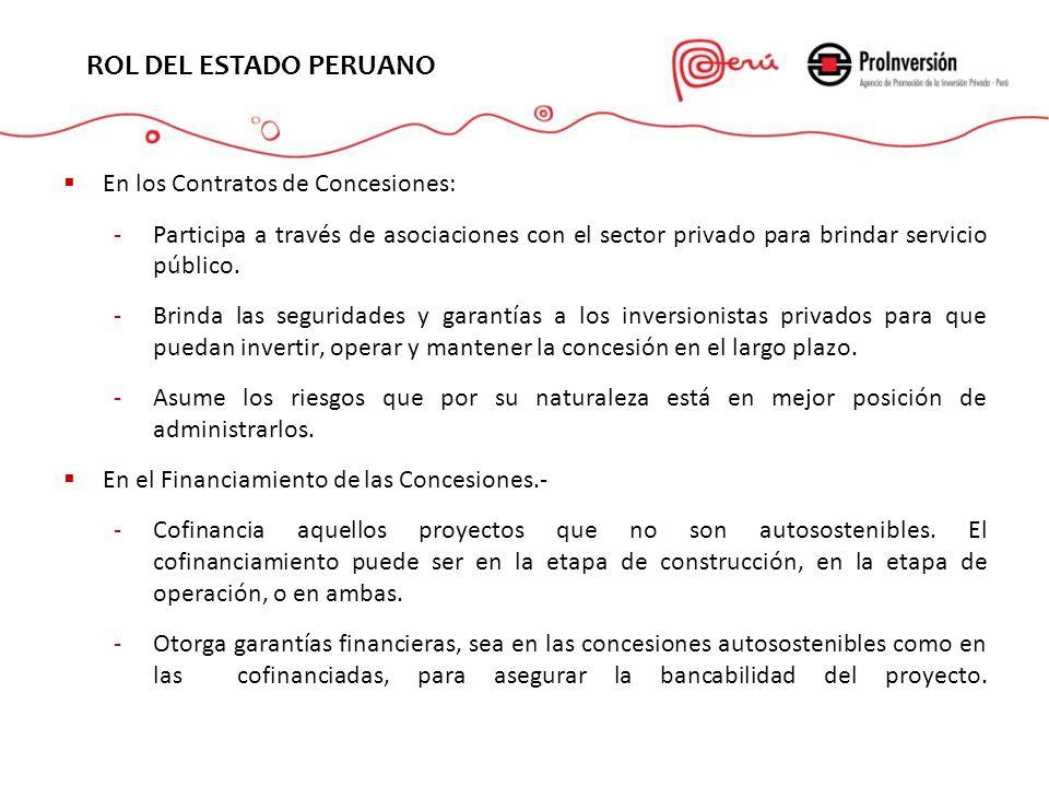 EL PROYECTO ROL DEL ESTADO PERUANO En los Contratos de Concesiones: