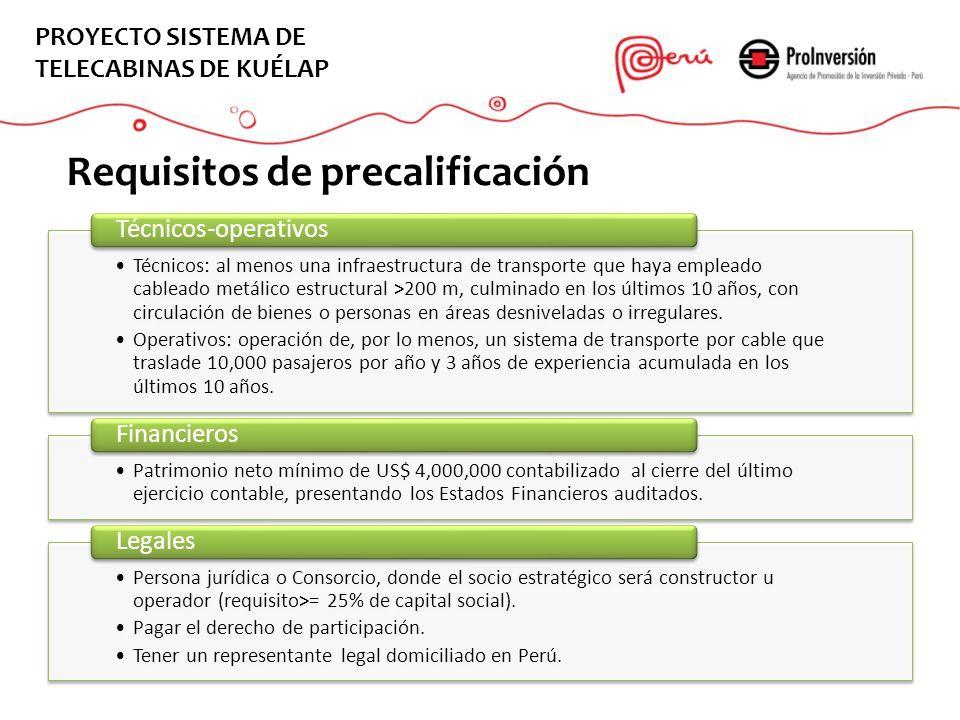 Requisitos EL PROYECTO Requisitos de precalificación