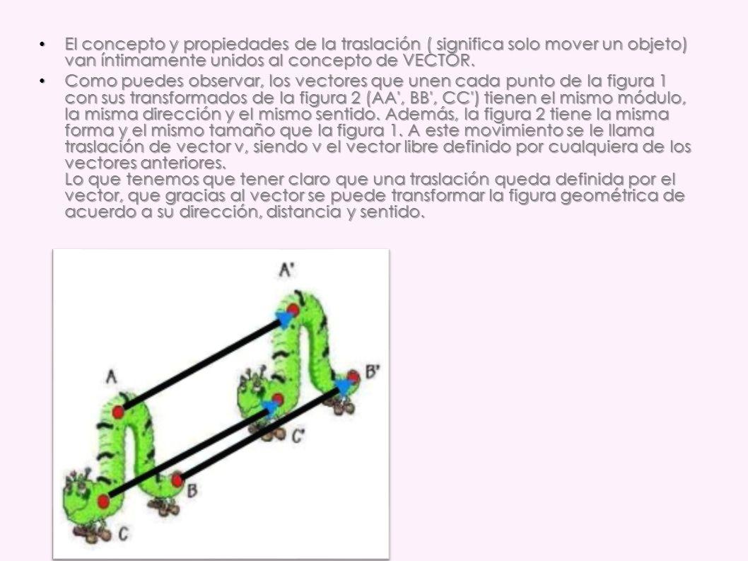 El concepto y propiedades de la traslación ( significa solo mover un objeto) van íntimamente unidos al concepto de VECTOR.