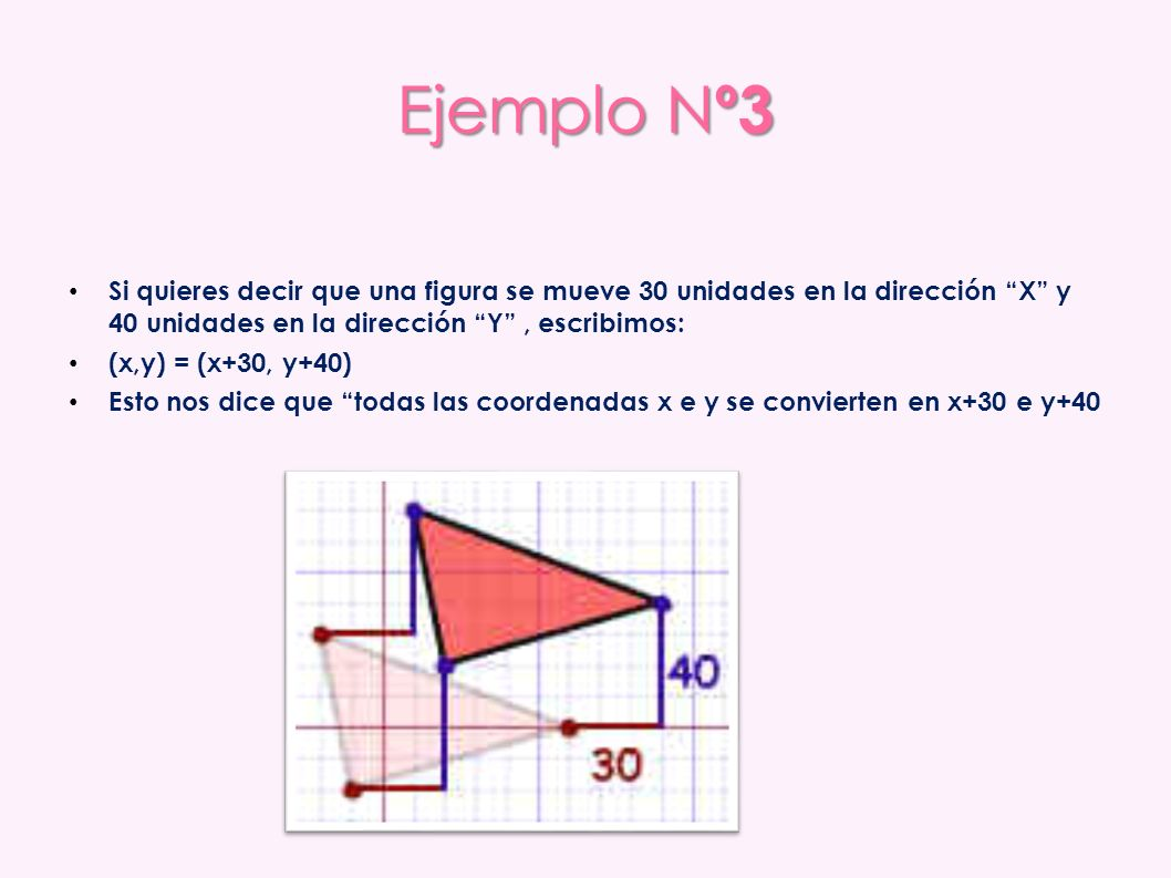 Ejemplo Nº3 Si quieres decir que una figura se mueve 30 unidades en la dirección X y 40 unidades en la dirección Y , escribimos: