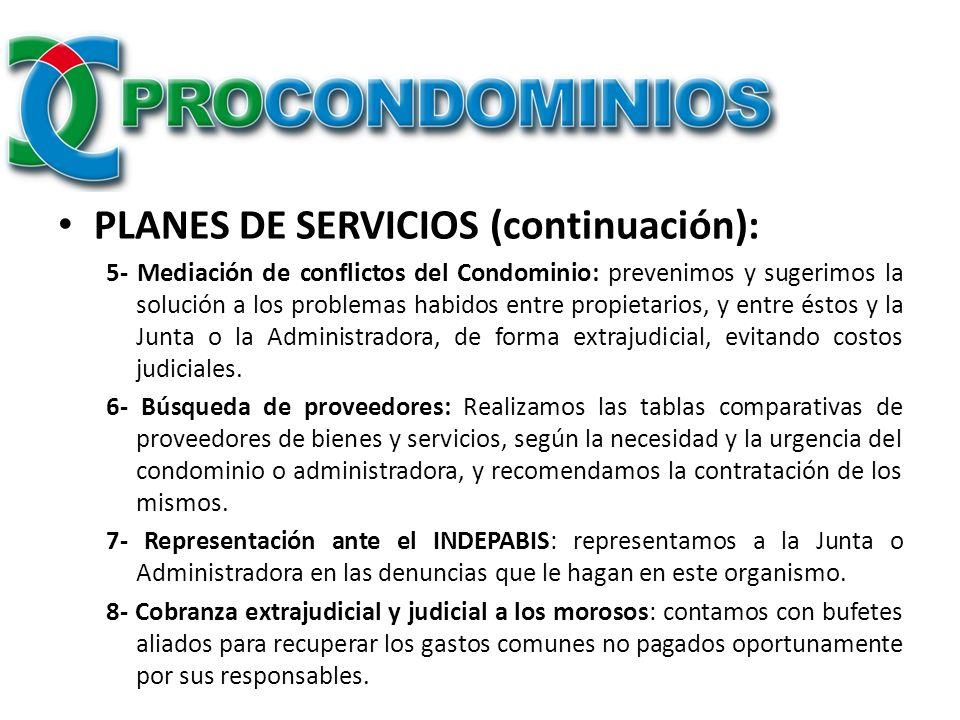 PLANES DE SERVICIOS (continuación):