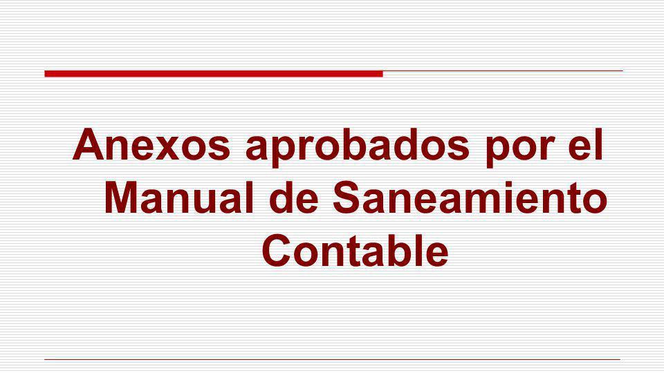 Anexos aprobados por el Manual de Saneamiento Contable