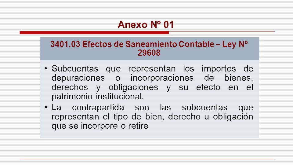 3401.03 Efectos de Saneamiento Contable – Ley Nº 29608