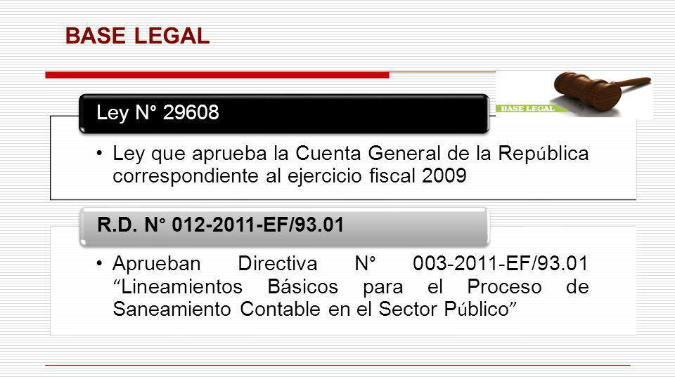 BASE LEGAL Ley que aprueba la Cuenta General de la República correspondiente al ejercicio fiscal 2009.