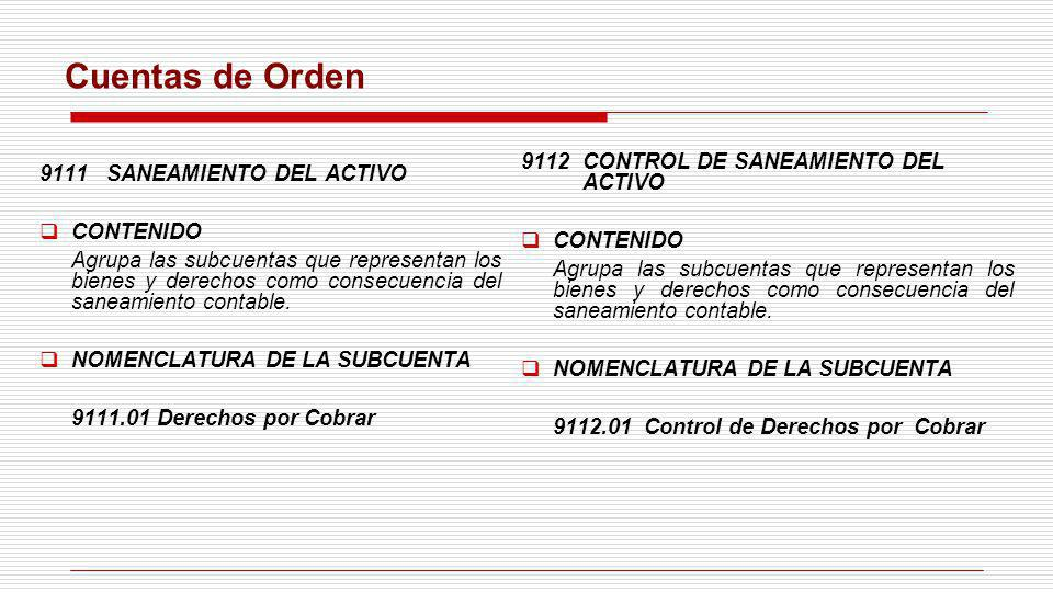 Cuentas de Orden 9111 SANEAMIENTO DEL ACTIVO