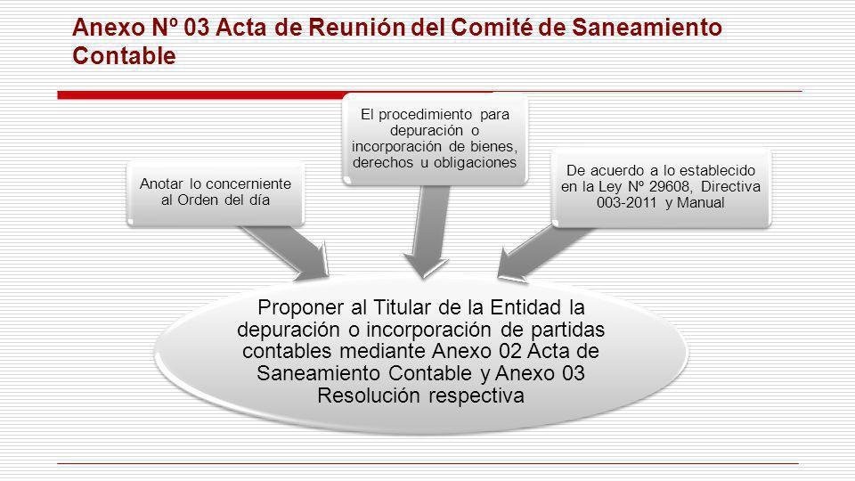 Anexo Nº 03 Acta de Reunión del Comité de Saneamiento Contable