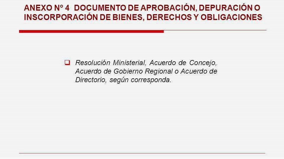 ANEXO Nº 4 DOCUMENTO DE APROBACIÓN, DEPURACIÓN O INSCORPORACIÓN DE BIENES, DERECHOS Y OBLIGACIONES