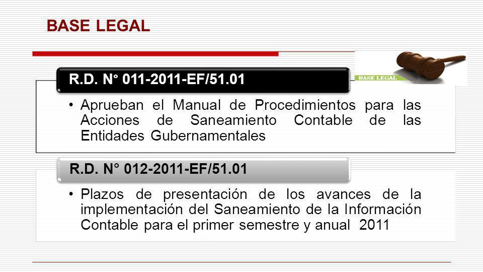 BASE LEGAL Aprueban el Manual de Procedimientos para las Acciones de Saneamiento Contable de las Entidades Gubernamentales.