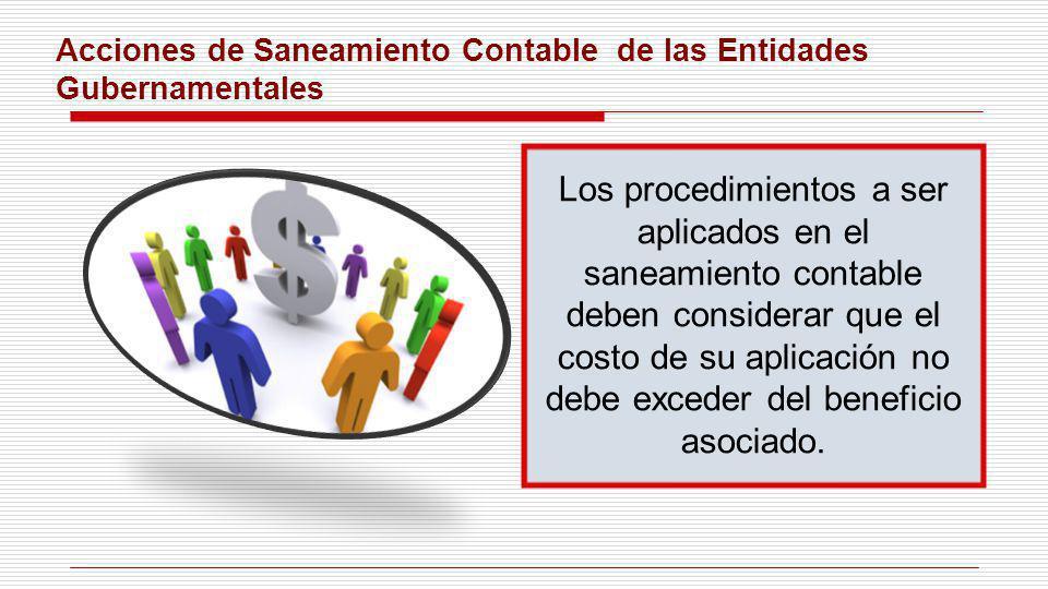 Acciones de Saneamiento Contable de las Entidades Gubernamentales