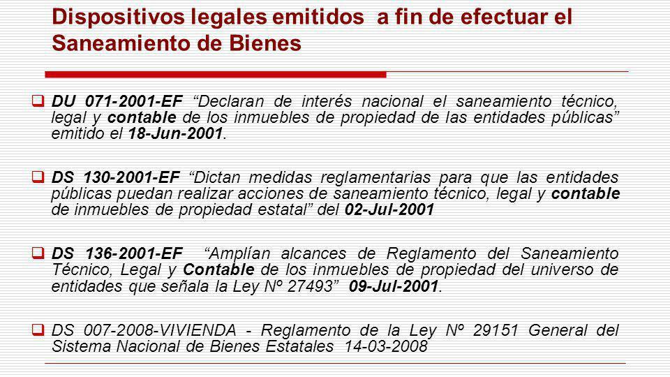 Dispositivos legales emitidos a fin de efectuar el Saneamiento de Bienes