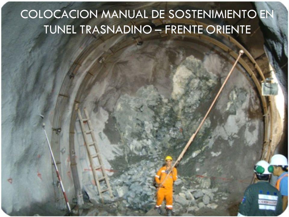 COLOCACION MANUAL DE SOSTENIMIENTO EN TUNEL TRASNADINO – FRENTE ORIENTE
