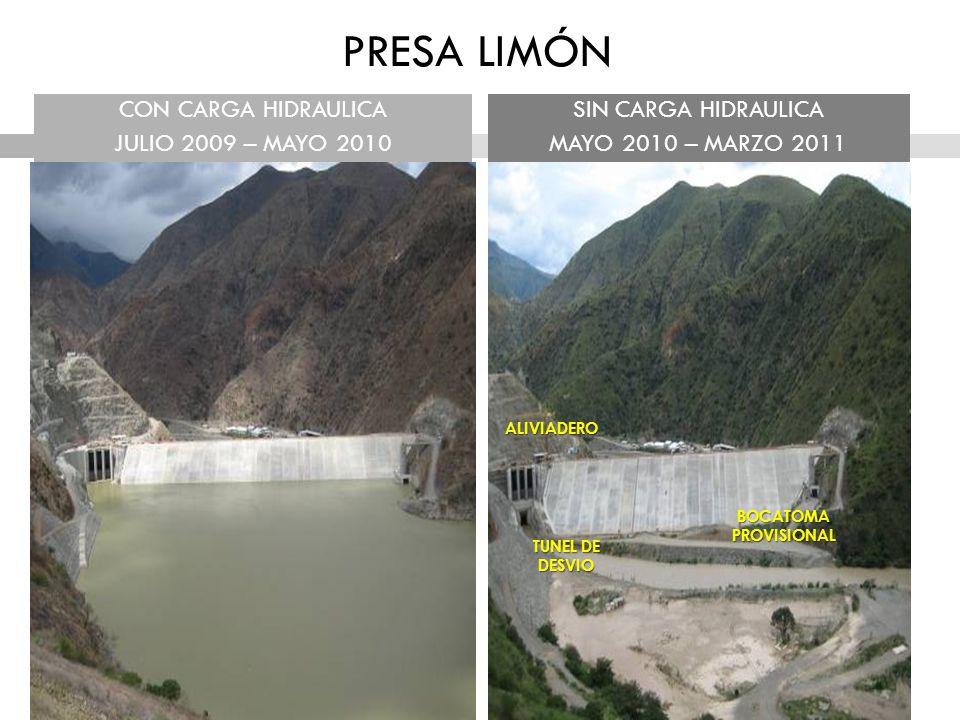 PRESA LIMÓN CON CARGA HIDRAULICA JULIO 2009 – MAYO 2010
