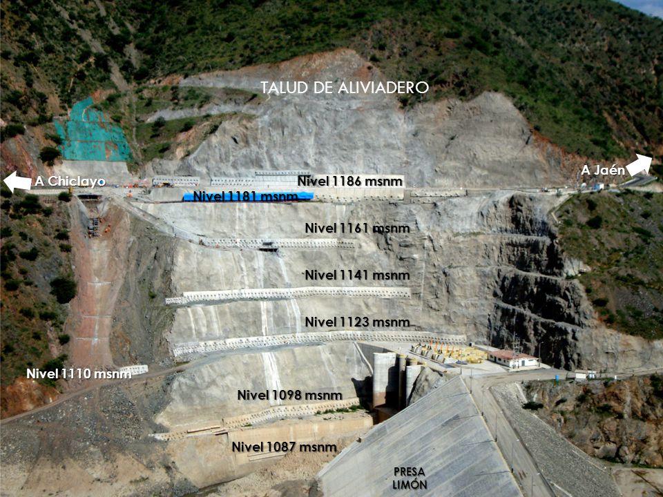 TALUD DE ALIVIADERO A Jaén A Chiclayo Nivel 1186 msnm Nivel 1181 msnm