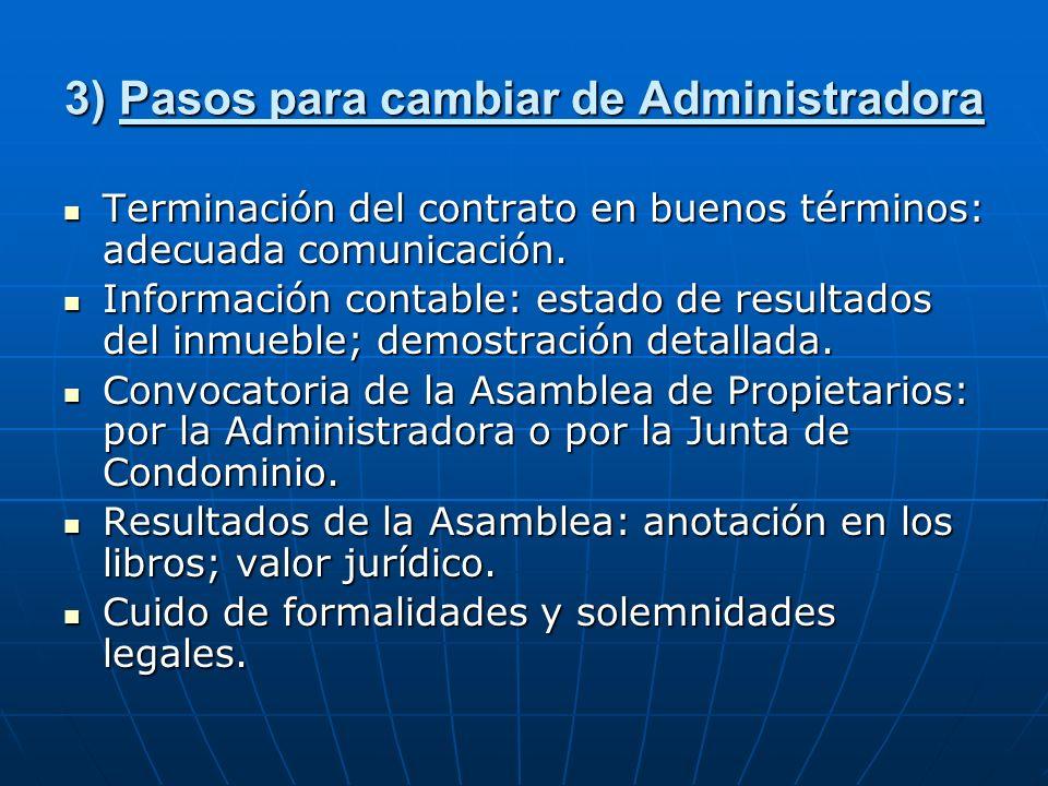 3) Pasos para cambiar de Administradora