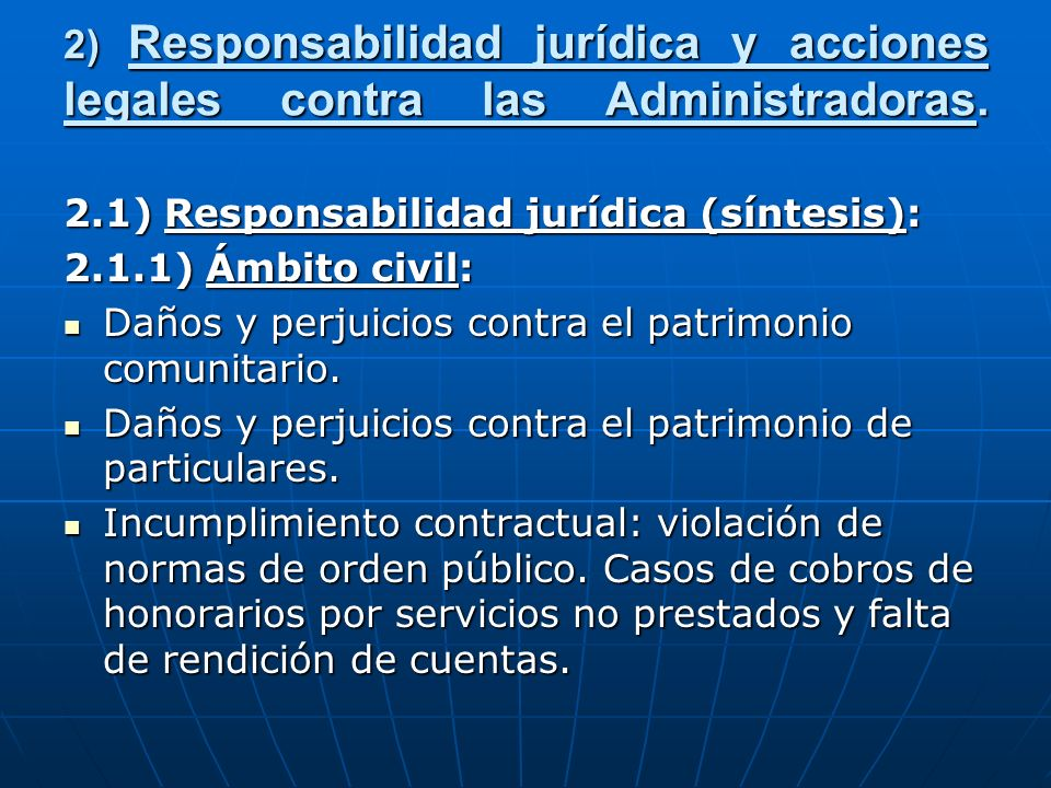 2) Responsabilidad jurídica y acciones legales contra las Administradoras.