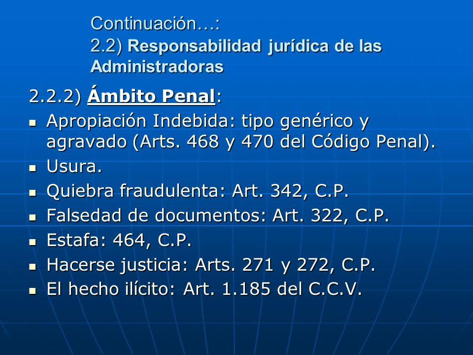 Continuación…: 2.2) Responsabilidad jurídica de las Administradoras