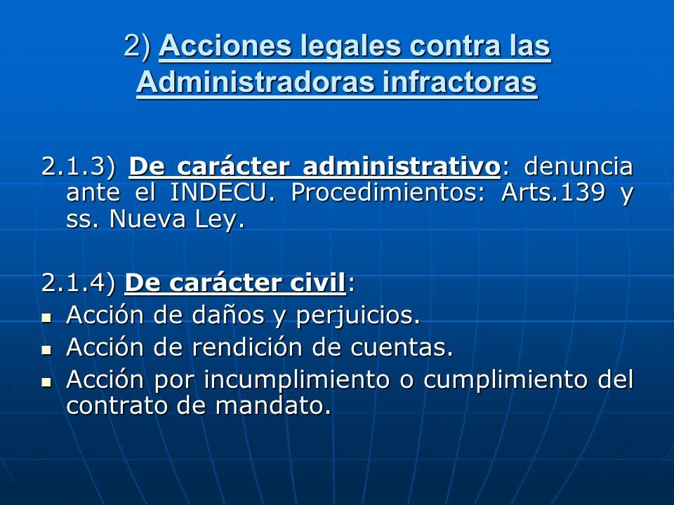 2) Acciones legales contra las Administradoras infractoras
