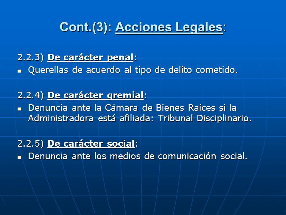 Cont.(3): Acciones Legales: