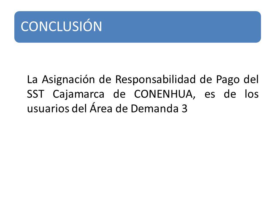 CONCLUSIÓN La Asignación de Responsabilidad de Pago del SST Cajamarca de CONENHUA, es de los usuarios del Área de Demanda 3.