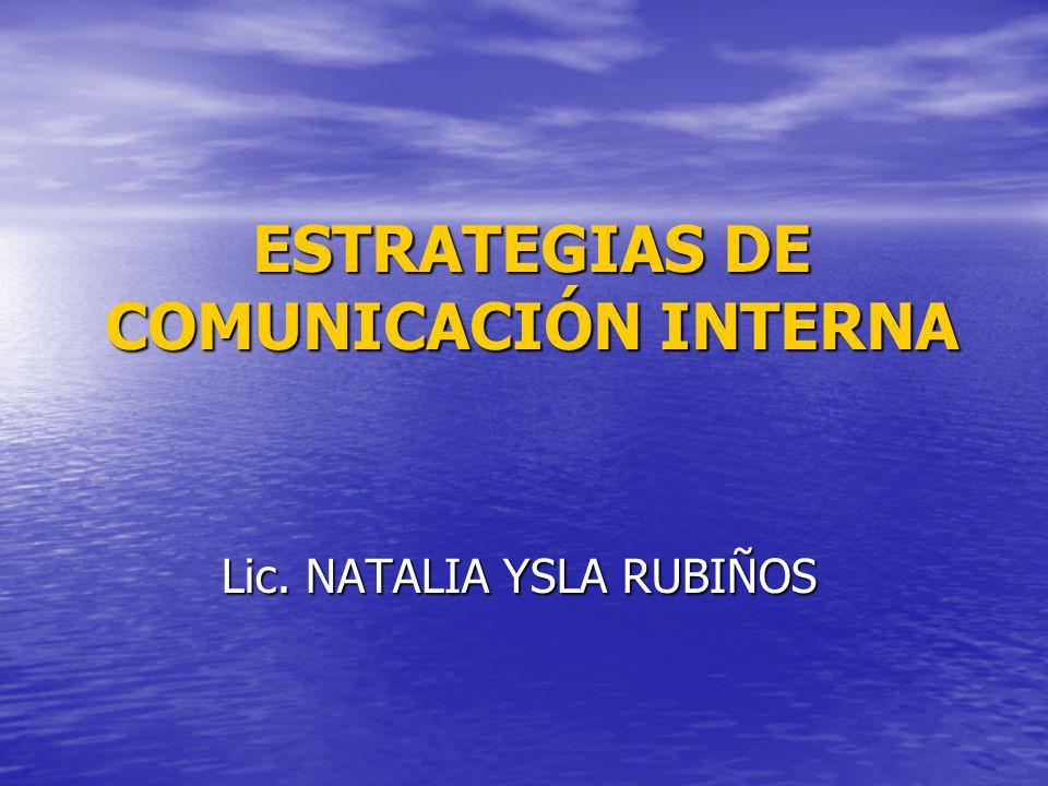 ESTRATEGIAS DE COMUNICACIÓN INTERNA