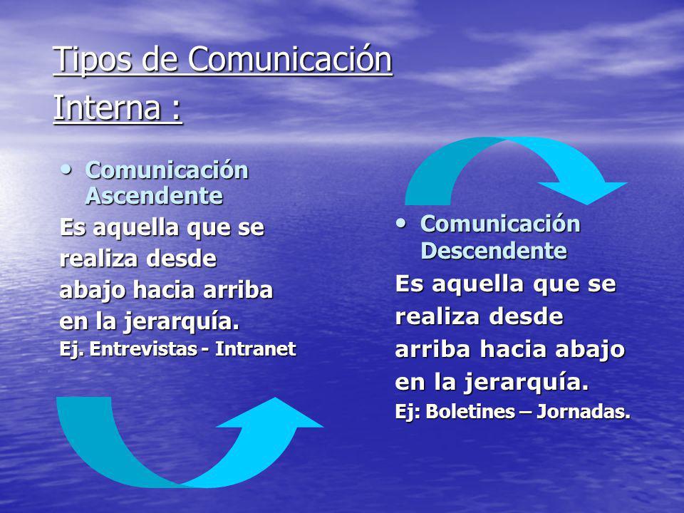 Tipos de Comunicación Interna :