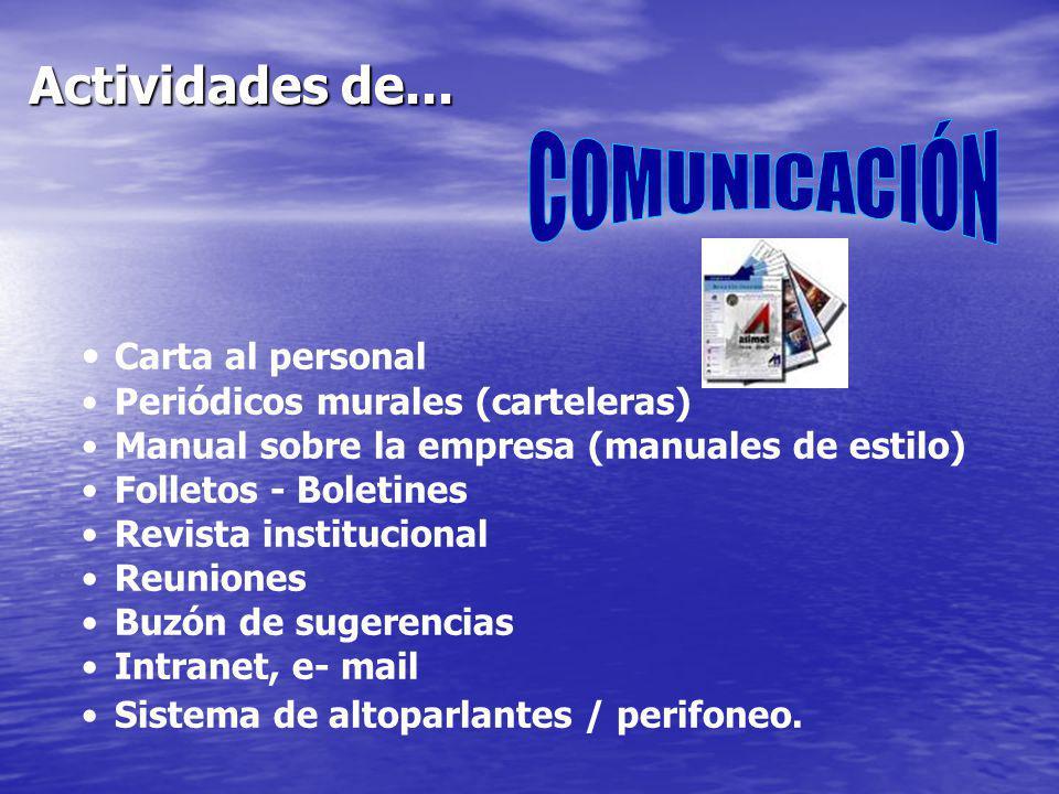 Actividades de... COMUNICACIÓN Carta al personal