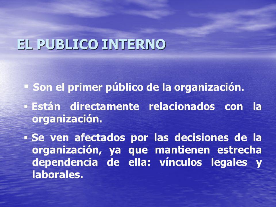EL PUBLICO INTERNO Son el primer público de la organización.