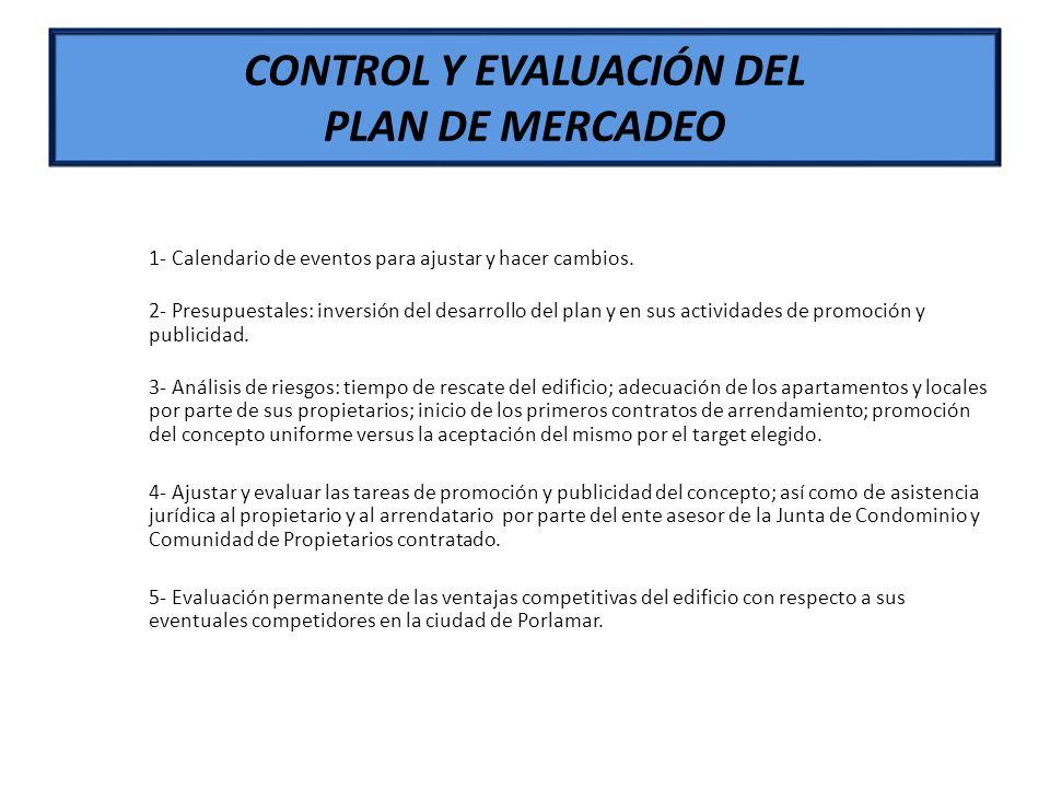CONTROL Y EVALUACIÓN DEL PLAN DE MERCADEO