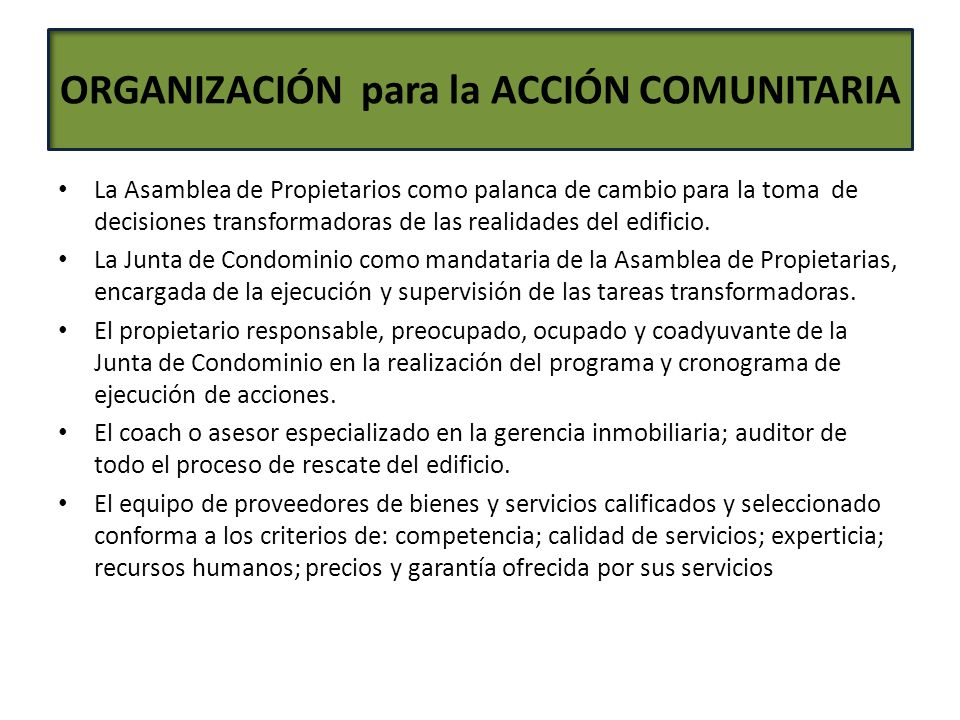 ORGANIZACIÓN para la ACCIÓN COMUNITARIA