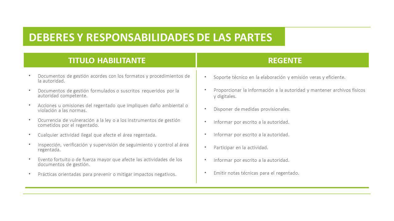 DEBERES Y RESPONSABILIDADES DE LAS PARTES
